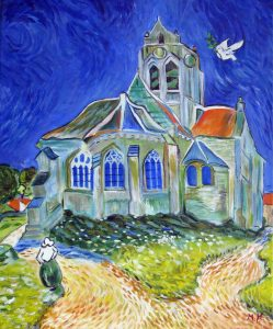 The church of Auvers sur Oise painted by Van Gogh