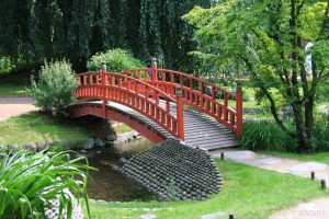 Japanese bridge, Botanical Garden Albert Kahn, Paris, France