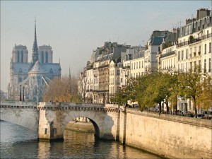 Ile Saint Louis and Notre Dame's Cathedral on île de la cité, Paris