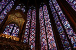 Stainglass windows in the Sainte Chapelle on île de la Cité Paris